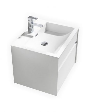 "Fitto 24"" High Gloss White Wall Mount Modern Bathroom Vanity"
