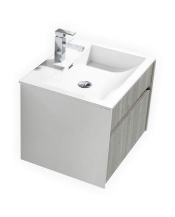 "Fitto 24"" Hash Gray Wall Mount Modern Bathroom Vanity"