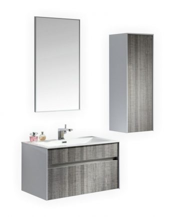 "Fitto 32"" Hash Gray Wall Mount Modern Bathroom Vanity"