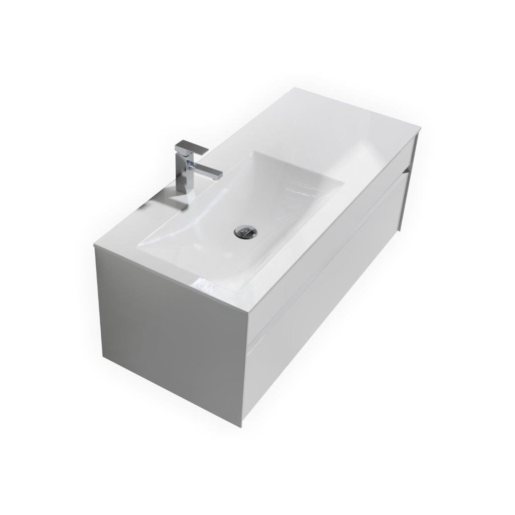High gloss bathroom wall cabinets - Fitto 48 Quot High Gloss White Wall Mount Modern Bathroom Vanity