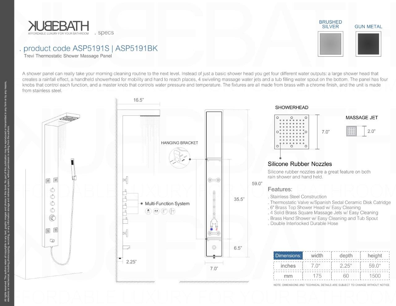 SHOWER PANEL ASP5191S & ASP5191BK  SPECS