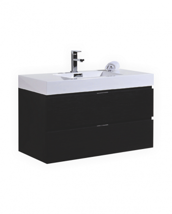 "BLISS 40"" BLACK WOOD WALL MOUNT MODERN BATHROOM VANITY"