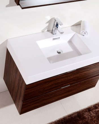 "BLISS 40"" WALNUT WALL MOUNT SINGLE SINK MODERN BATHROOM VANITY"