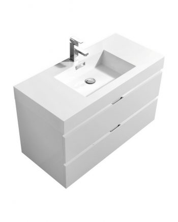 "Bliss 40"" High Gloss White Wall Mount Modern Bathroom Vanity"