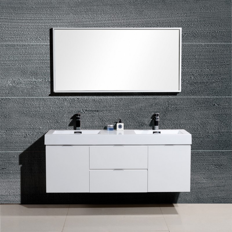 Bliss 60 Quot High Gloss White Wall Mount Double Sink Vanity