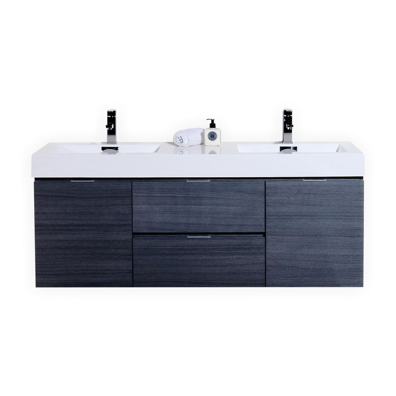 Bliss 60 high gloss gray oak wall mount double sink vanity - Contemporary european designer bathroom vanities ...