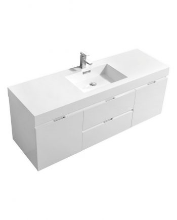 "Bliss 60"" High Gloss White Wall Mount Single Sink Modern Bathroom Vanity"