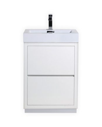 BLISS 24″ HIGH GLOSS WHITE FREE STANDING MODERN BATHROOM VANITY