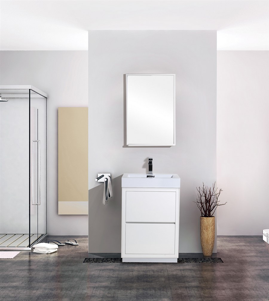 Bliss 24 High Gloss White Floor Mount Bathroom Vanity