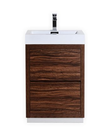 BLISS 24″ WALNUT FREE STANDING MODERN BATHROOM VANITY