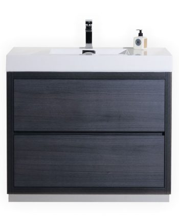 BLISS 40″ GRAY OAK FREE STANDING MODERN BATHROOM VANITY