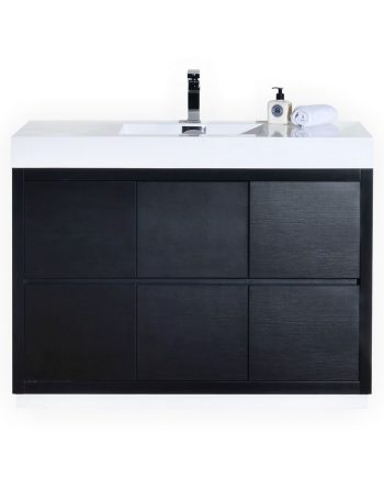 BLISS 48″ BLACK FREE STANDING MODERN BATHROOM VANITY