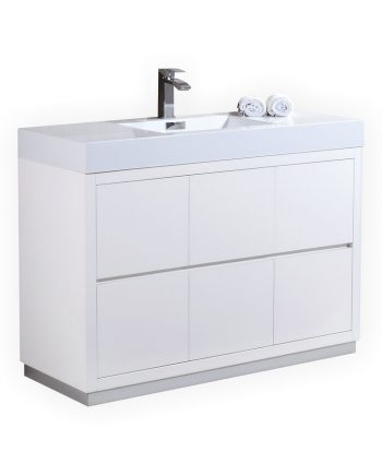 BLISS 48″ HIGH GLOSS WHITE FREE STANDING MODERN BATHROOM VANITY
