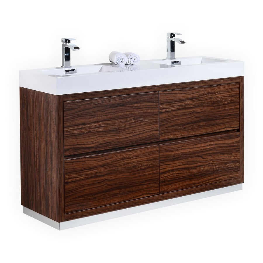 Bliss 60 Walnut Double Sink Floor Mount Bathroom Vanity