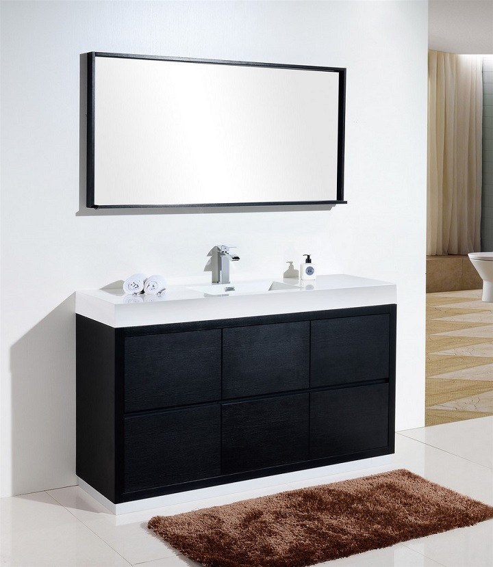 Bliss 60 Single Sink Black Free Standing Vanity
