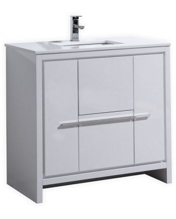 KubeBath Dolce 36″ High Gloss White Modern Bathroom Vanity with White Quartz Counter-Top