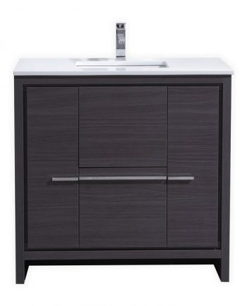 KubeBath Dolce 36″ Gray Oak Modern Bathroom Vanity with White Quartz Counter-Top