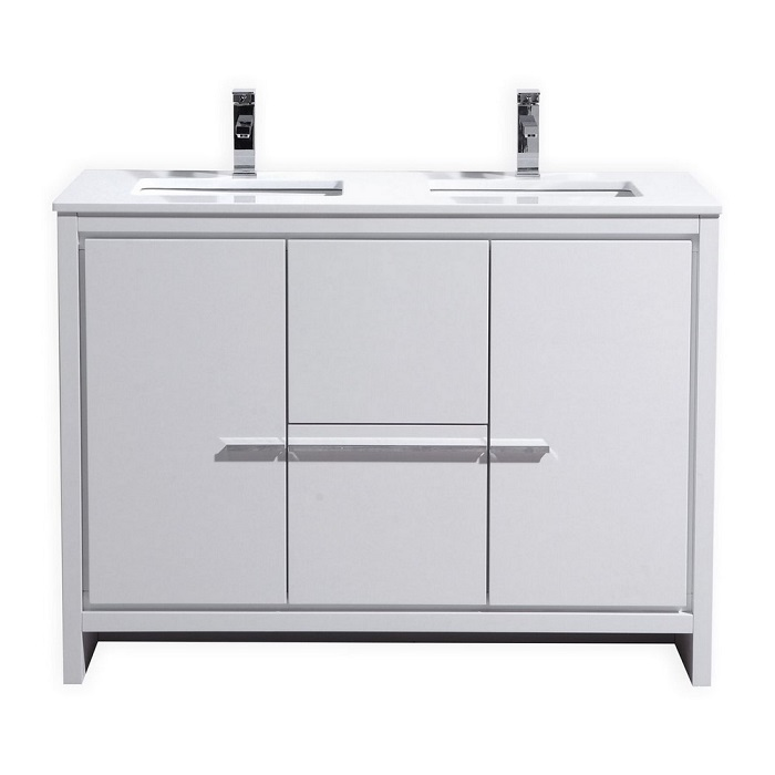 KubeBath Dolce 48 Double Sink High Gloss White Vanity