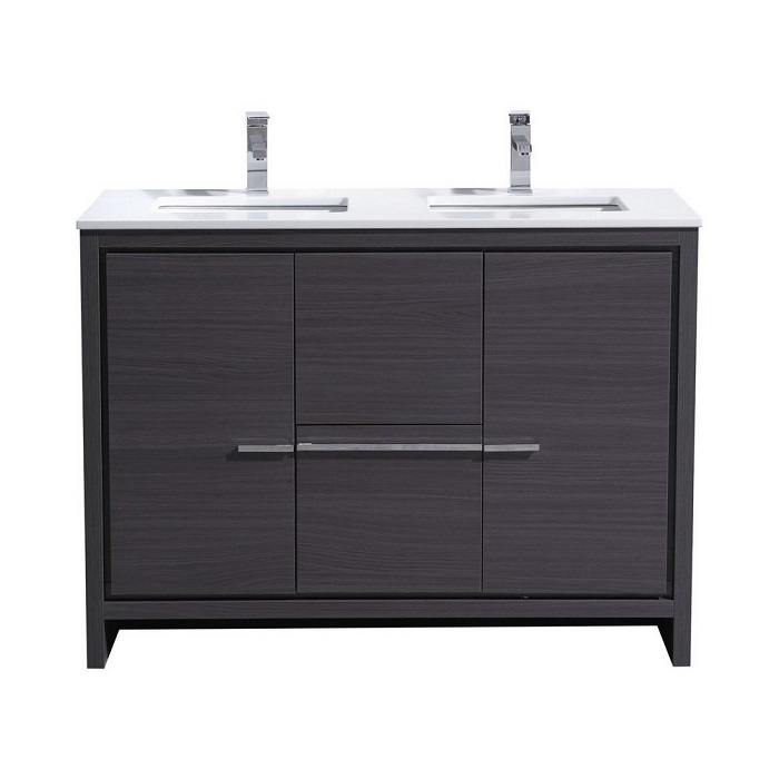 KubeBath Dolce 48 Double Sink Gray Oak Modern Bathroom Vanity