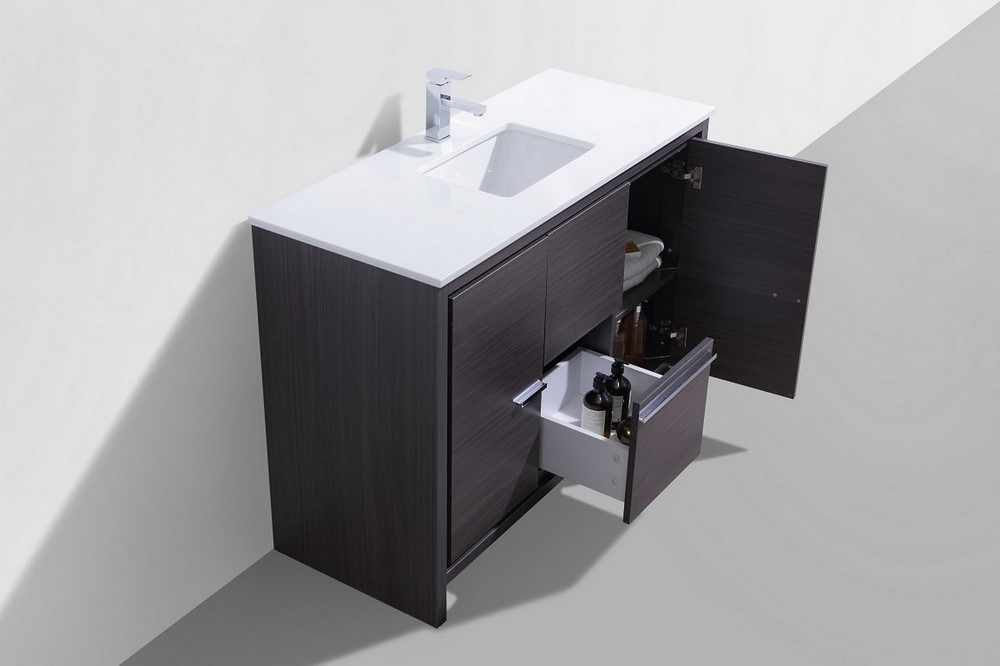 Oak framed mirrors bathroom - Kubebath Dolce 48 Gray Oak Modern Bathroom Vanity