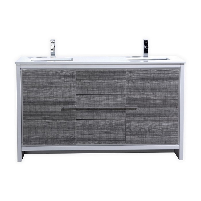 Kubebath Dolce 60 Double Sink Ash Gray Bathroom Vanity