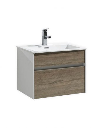 Fitto 24″ Havana Oak Wall Mount Modern Bathroom Vanity