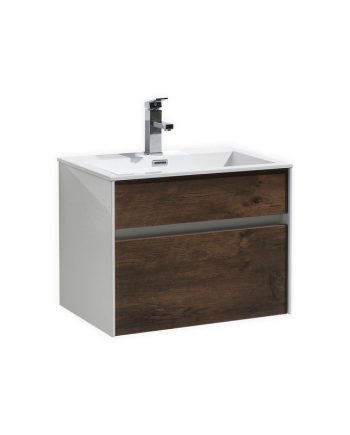 "Fitto 24"" Rose Wood Wall Mount Modern Bathroom Vanity"