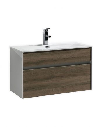 "Tona Fitto 32"" Havana Oak Wall Mount Modern Bathroom Vanity"