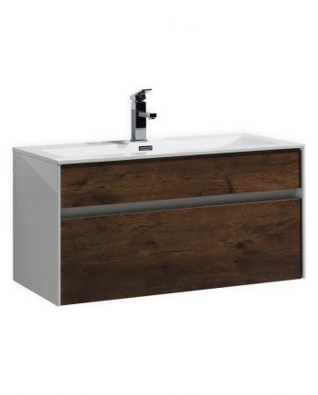 "Fitto 36"" Rose Wood Wall Mount Modern Bathroom Vanity"