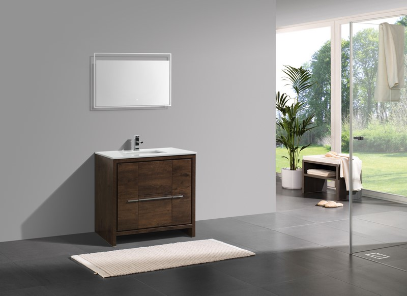 Kubebath dolce 36 rose wood modern bathroom vanity - Grijze wand taupe ...