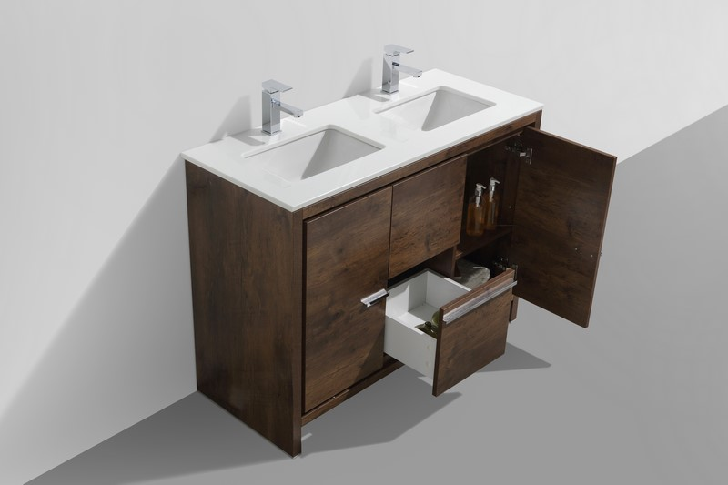 Kubebath Dolce 48 Double Sink Rose Wood Modern Bathroom Vanity