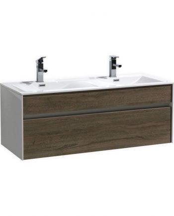 FITTO 48″ DOUBLE SINK HAVANA OAK WALL MOUNT MODERN BATHROOM VANITY