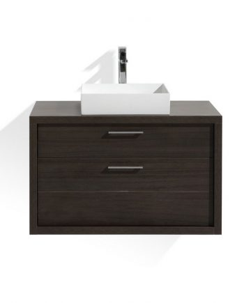 TUCCI 36″ GRAY OAK WOOD WALL MOUNT MODERN BATHROOM VANITY