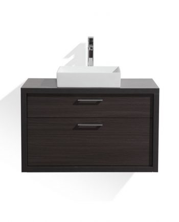 TUCCI 36″ DARK GRAY OAK WOOD WALL MOUNT MODERN BATHROOM VANITY