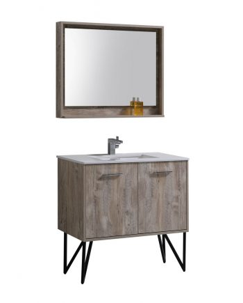 "Bosco 36"" Modern Bathroom Vanity w/ Quartz Countertop and Matching Mirror"