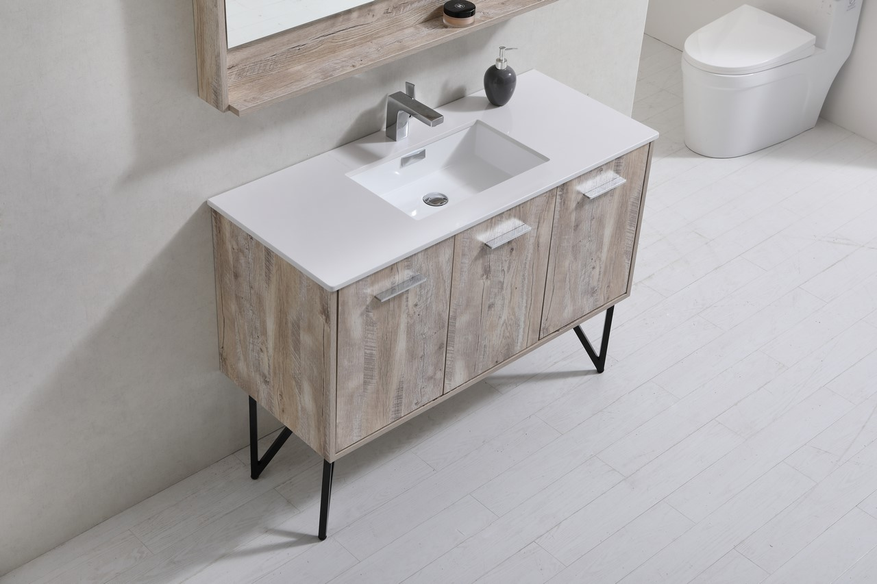 Innovative  Sink Bathroom Vanity In Gray Oak With Matching Mirror UVFVN8140GO40