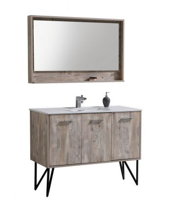 "Bosco 48"" Modern Bathroom Vanity w/ Quartz Countertop and Matching Mirror"