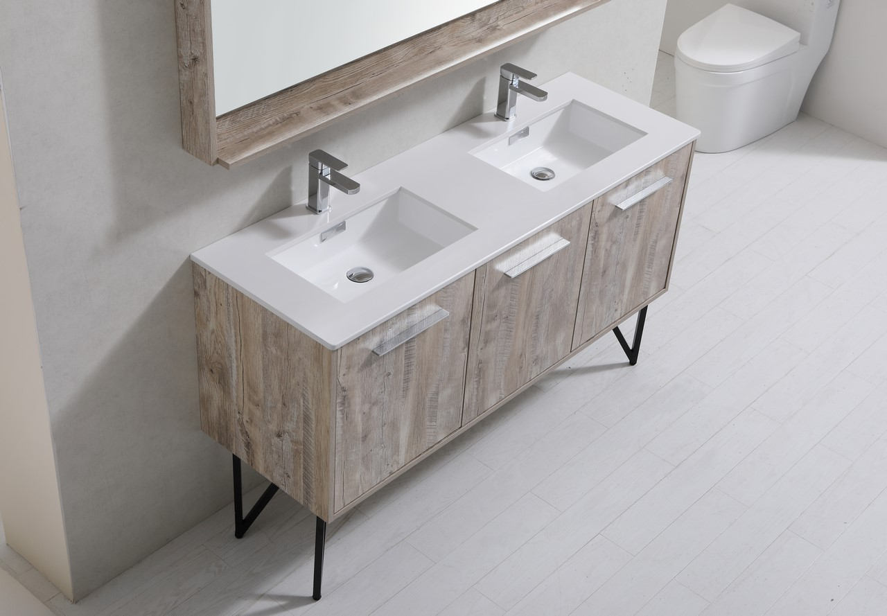 Bosco 60 Quot Modern Bathroom Vanity And Matching Mirror