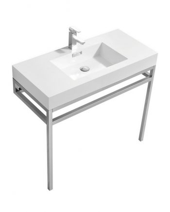"Haus 40"" Stainless Steel Console w/ White Acrylic Sink - Chrome"
