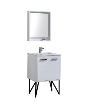 "Bosco 24"" High Gloss White Modern Bathroom Vanity w/ Quartz Countertop and Matching Mirror"