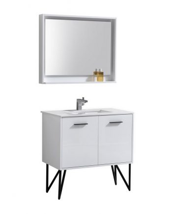 "Bosco 36"" High Gloss White Modern Bathroom Vanity w/ Quartz Countertop and Matching Mirror"