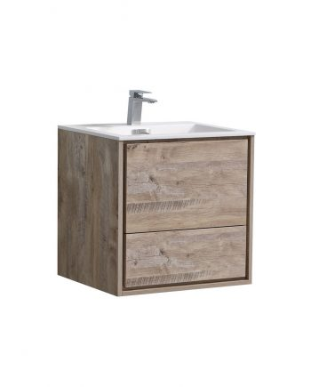 "De Lusso 24"" Nature Wood Wall Mount Modern Bathroom Vanity"
