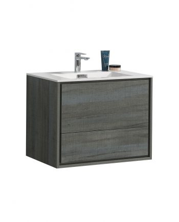 "De Lusso 30"" Ocean Gray Wall Mount Modern Bathroom Vanity"