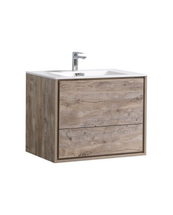 "De Lusso 30"" Nature Wood Wall Mount Modern Bathroom Vanity"