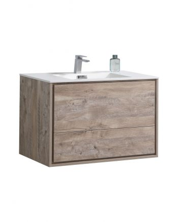"De Lusso 36"" Nature Wood Wall Mount Modern Bathroom Vanity"