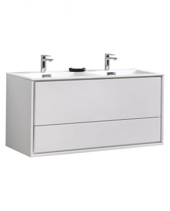 "De Lusso 48"" Double Sink High Glossy White Wall Mount Modern Bathroom Vanity"