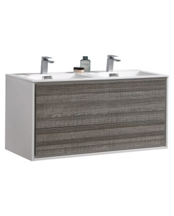 "De Lusso 48"" Double Sink Ash Gray Wall Mount Modern Bathroom Vanity"