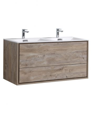 "De Lusso 48"" Double Sink Nature Wood Wall Mount Modern Bathroom Vanity"