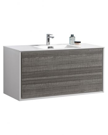 "De Lusso 48"" Single Sink Ash Gray Wall Mount Modern Bathroom Vanity"