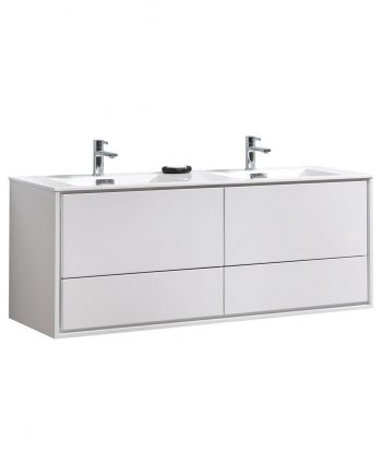 "De Lusso 60"" Double Sink High Glossy White Wall Mount Modern Bathroom Vanity"